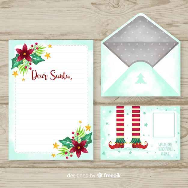 Watercolor christmas letter and envelope template Premium Vector