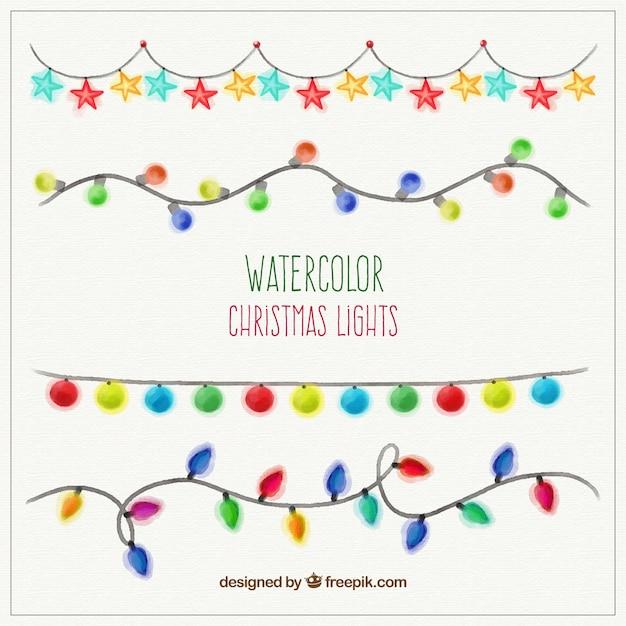 Watercolor Christmas Lights Vector