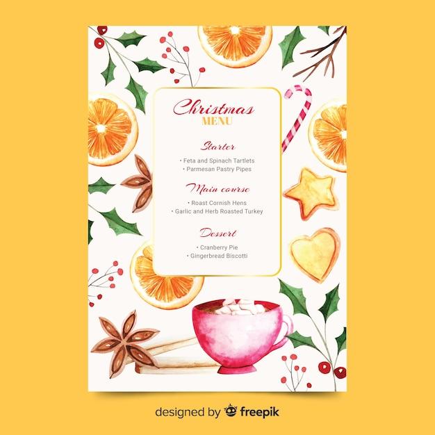 Watercolor christmas menu template Free Vector
