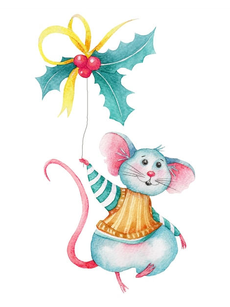 Watercolor christmas mouse with holly berries Premium Vector