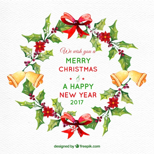 Watercolor christmas and new year greeting background Free Vector