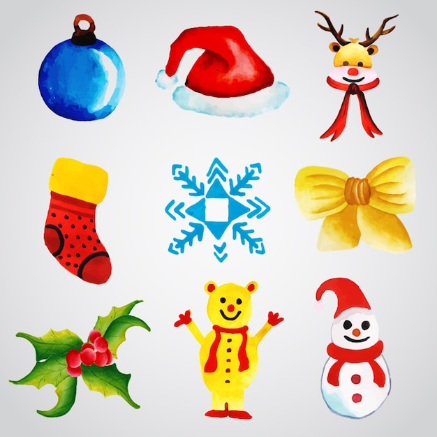 Watercolor christmas ornaments collection Free Vector