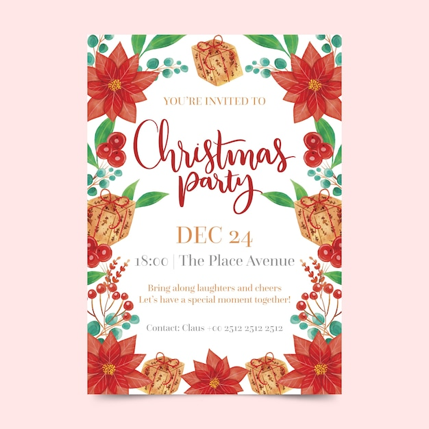 Watercolor christmas party flyer template Free Vector