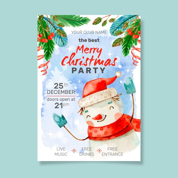 Watercolor christmas party poster template Free Vector