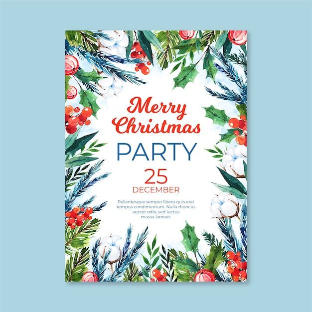 Шаблон плаката акварельной рождественской вечеринки Бесплатные векторы