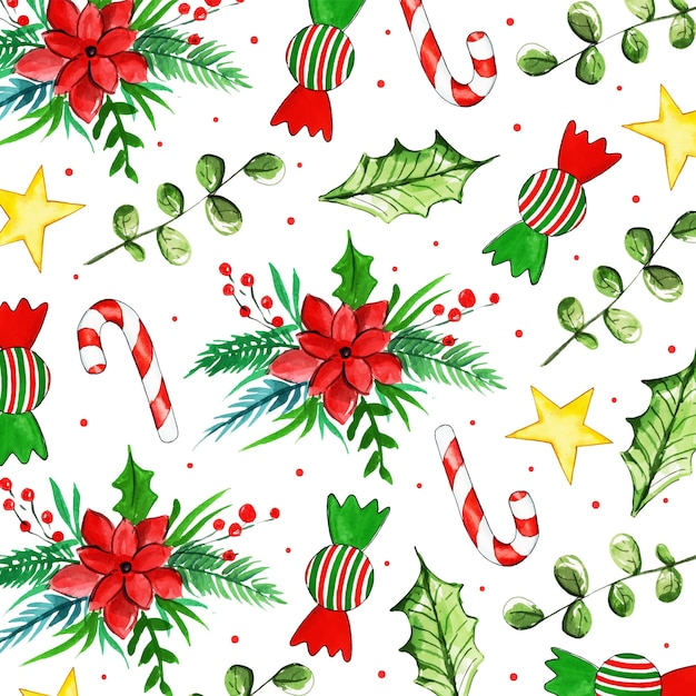 Watercolor christmas pattern background Premium Vector