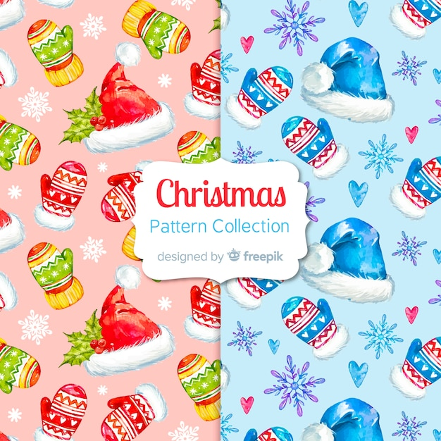 Watercolor christmas pattern collection Free Vector