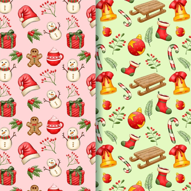 Watercolor christmas pattern collection Premium Vector