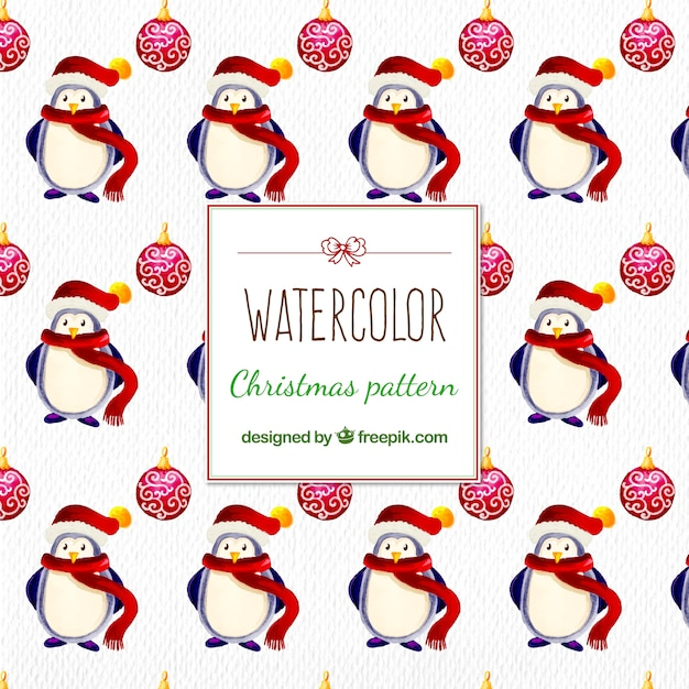 Watercolor christmas pattern with penguins and baubles