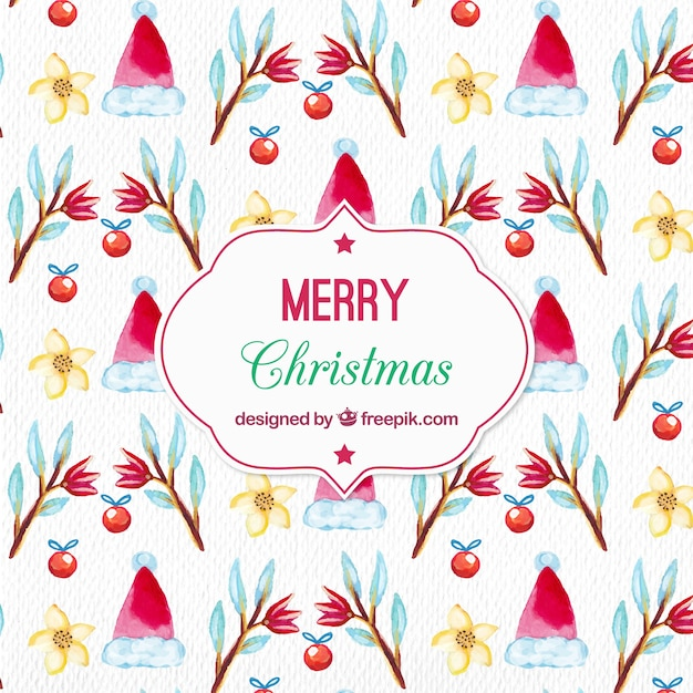 Watercolor christmas pattern with santa claus hat and floral elements Free Vector