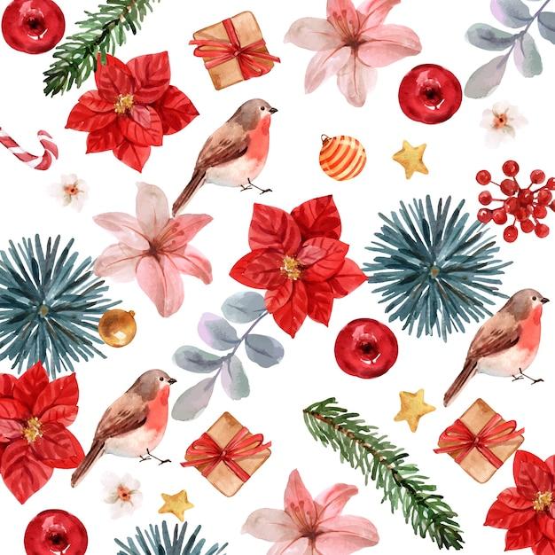 水彩クリスマスパターン Premiumベクター