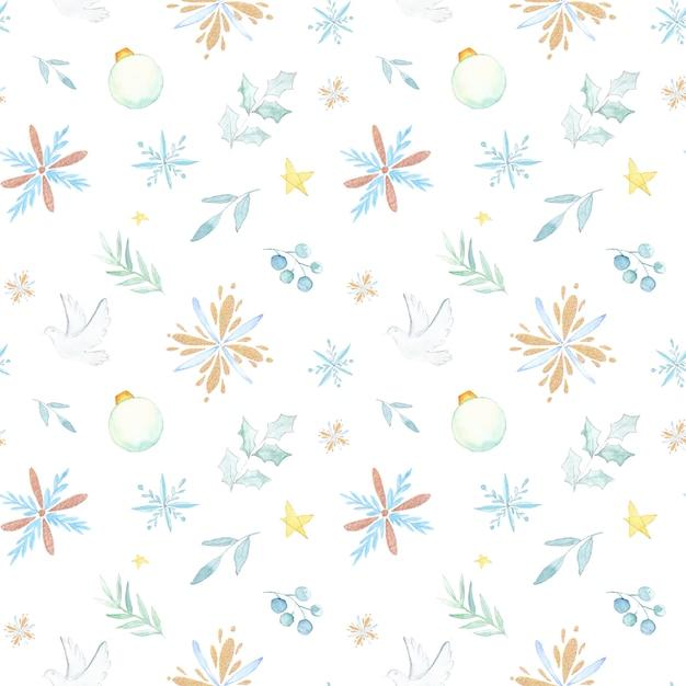 Watercolor christmas pattern Premium Vector