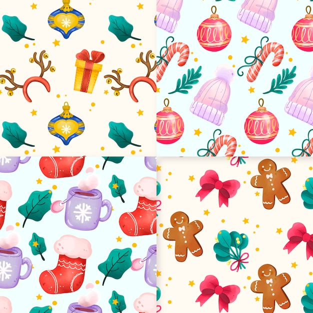 Watercolor christmas pattern Free Vector