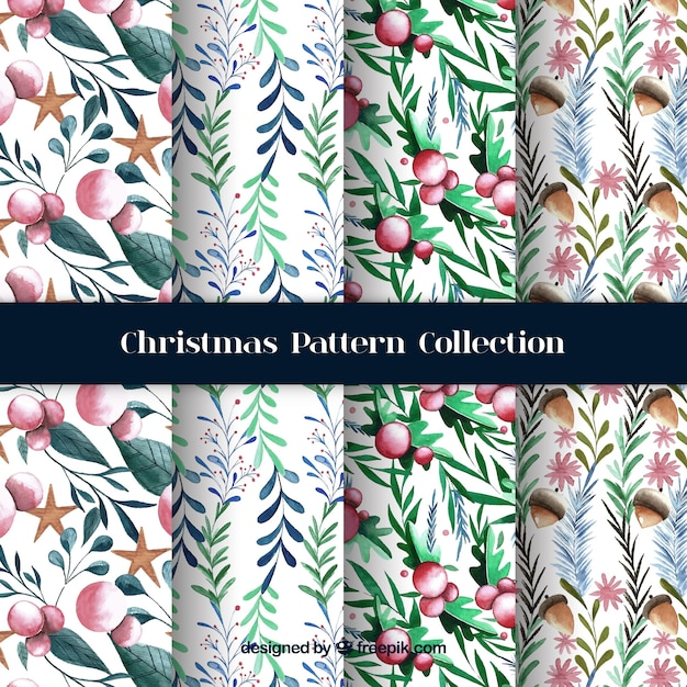 Watercolor christmas patterns with natural elements Free Vector