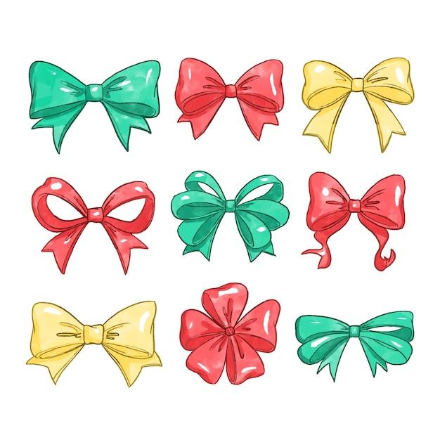 Watercolor christmas ribbon collection Free Vector