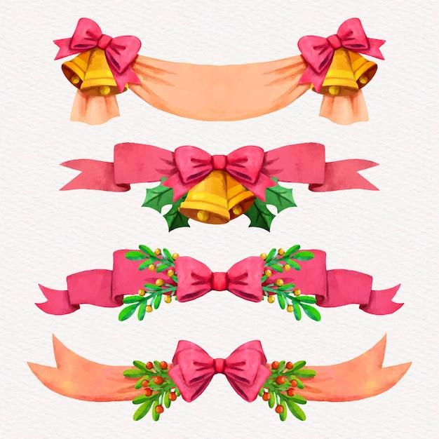 水彩のクリスマスリボンコレクション Premiumベクター