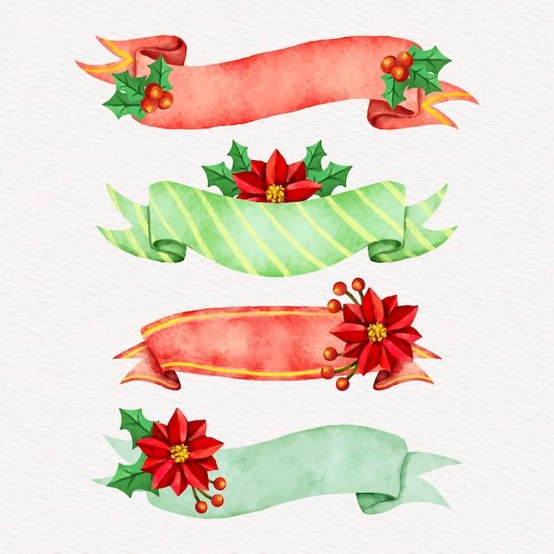 Коллекция акварельных рождественских лент Бесплатные векторы