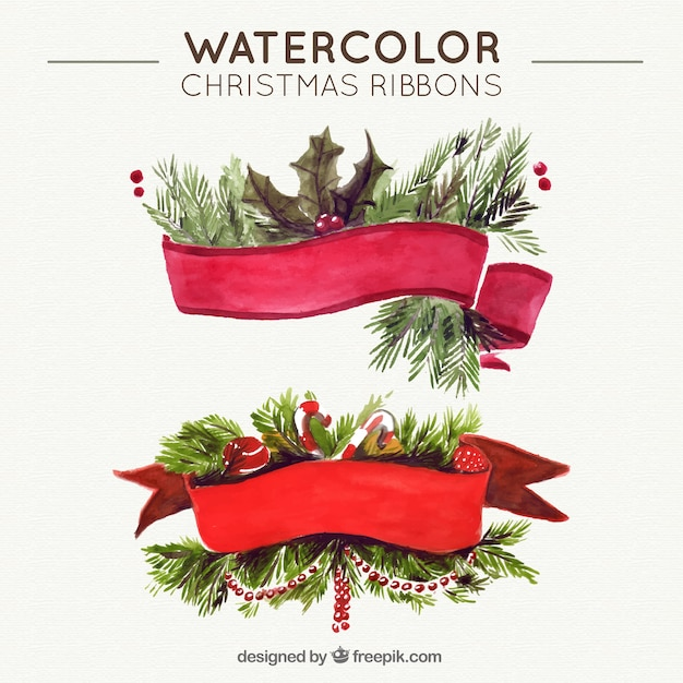 Watercolor christmas ribbons with nature\ elements