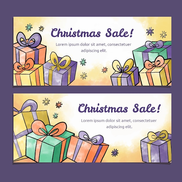 Watercolor christmas sale banners template Free Vector