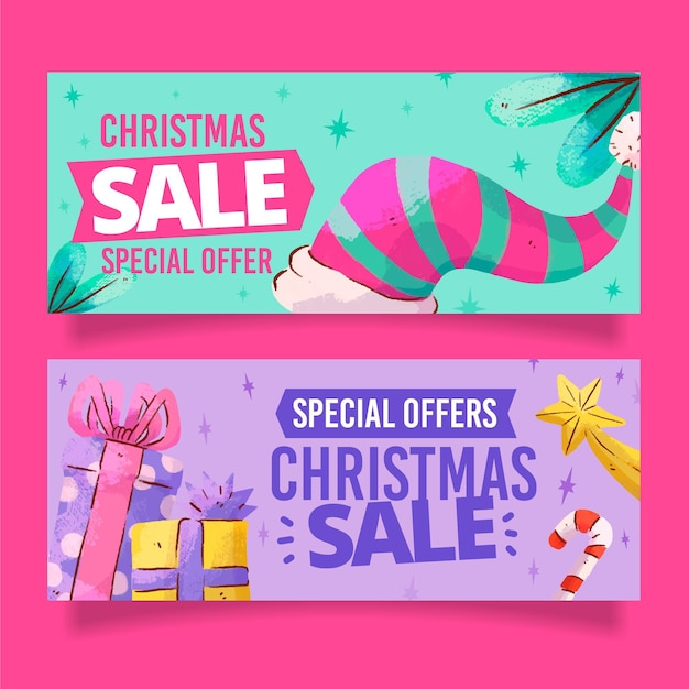 Watercolor christmas sale banners Free Vector