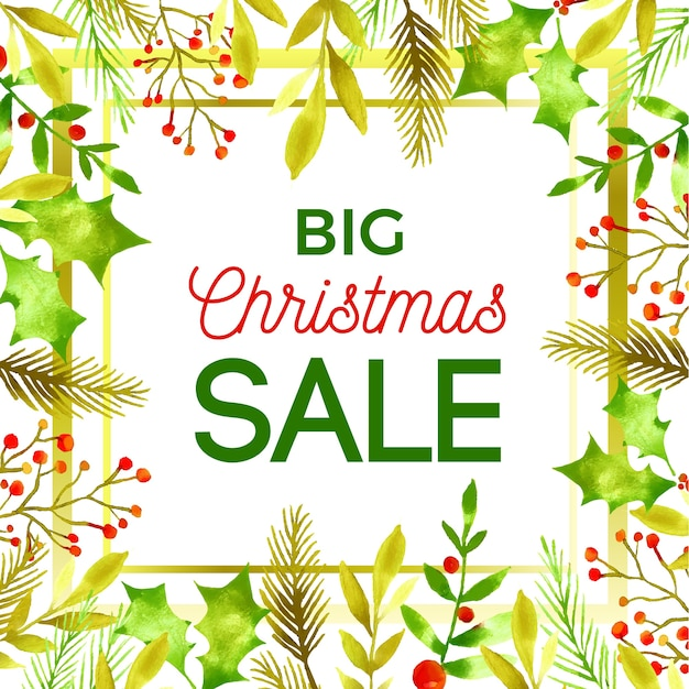 Watercolor christmas sale concept Free Vector