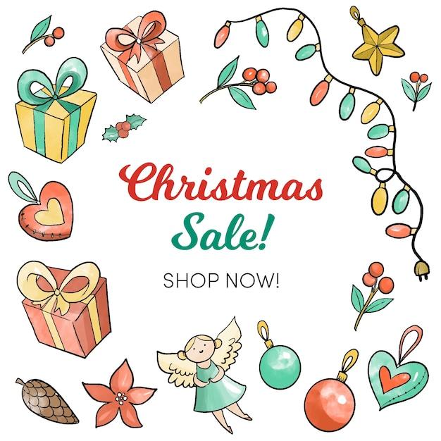 Watercolor christmas sale concept Free Vector