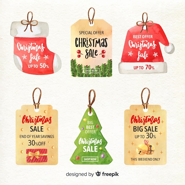 Watercolor christmas sale label collection Free Vector