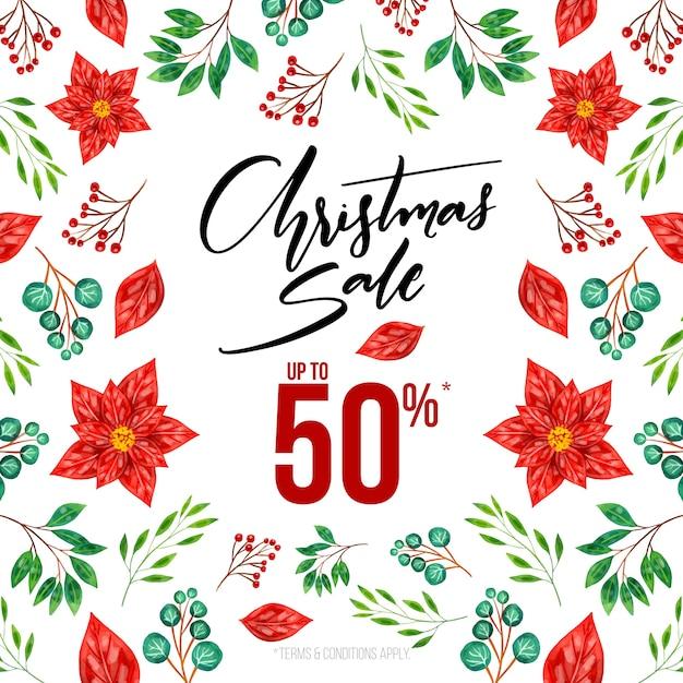 Watercolor christmas sale season Free Vector