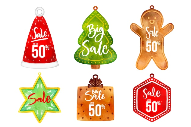 Watercolor christmas sale tag collection Free Vector