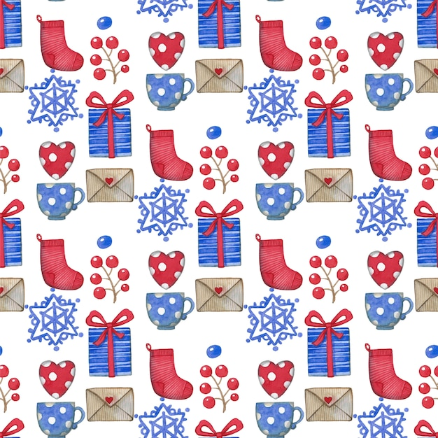 Watercolor christmas seamless pattern, gift box Premium Vector