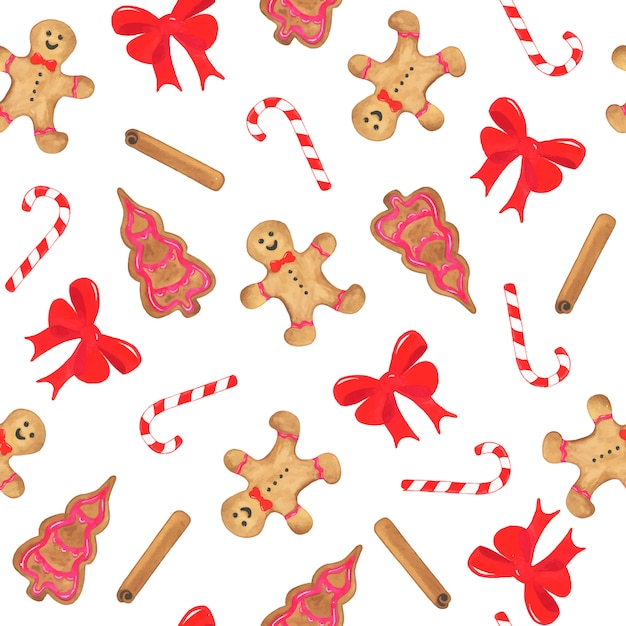 Watercolor christmas seamless pattern with bow, gingerbread, sweet cane and cinnamon Free Vector