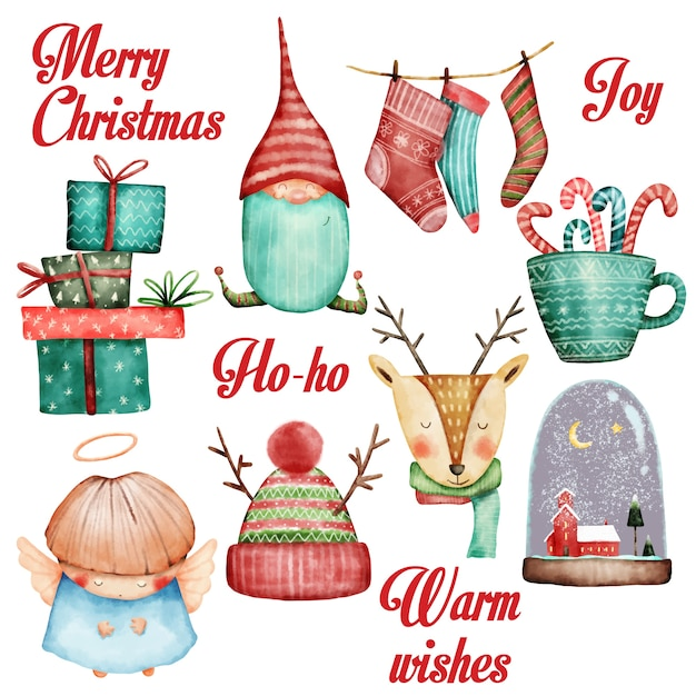 Watercolor christmas set Premium Vector