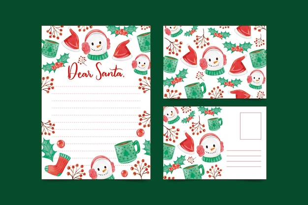 Watercolor christmas snowman stationery template Free Vector