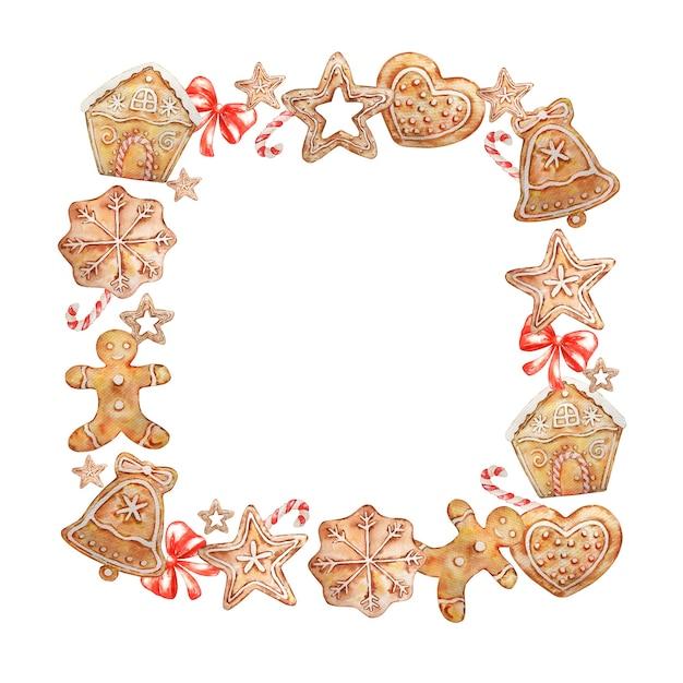 Акварель рождественский квадратный венок с пряниками, конфетами и красным бантом. Premium векторы