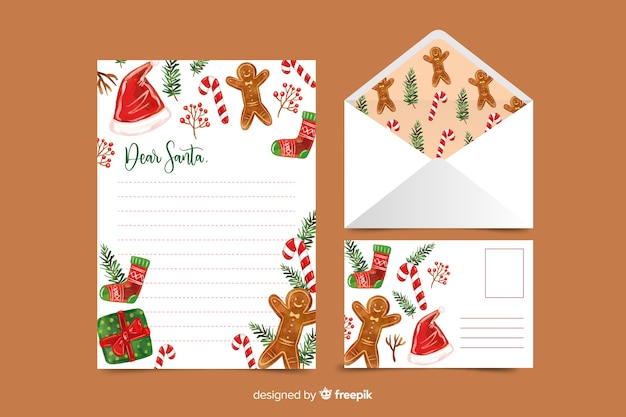 Watercolor christmas stationery template with gingerbread Free Vector