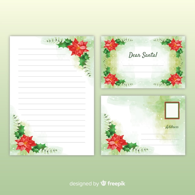 Watercolor christmas stationery template with letter for santa Free Vector