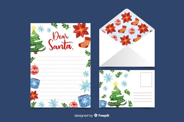 Watercolor christmas stationery template with ornaments Free Vector
