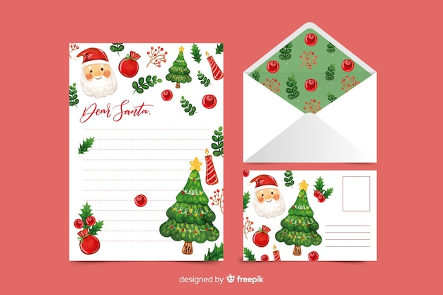 Watercolor christmas stationery template with santa Free Vector