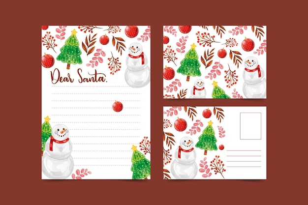 Watercolor christmas stationery template Free Vector