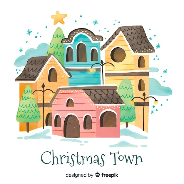 Watercolor christmas town background Free Vector