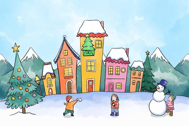 Città natale dell'acquerello con bambini che giocano Vettore gratuito