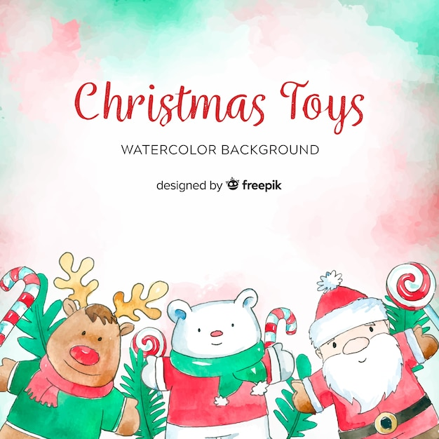 Watercolor christmas toy background Free Vector