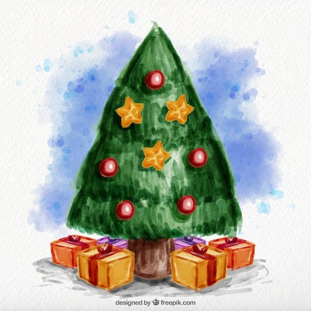Watercolor christmas tree background with gift\ boxes