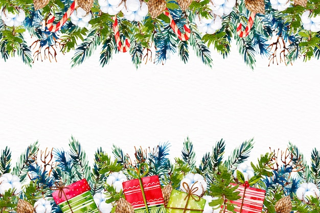 Watercolor christmas tree braches background Free Vector