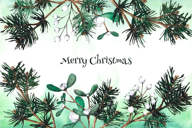 Watercolor christmas tree branches background Free Vector