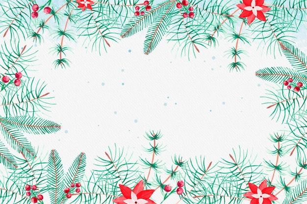 Акварель рождественская елка ветви фон Premium векторы