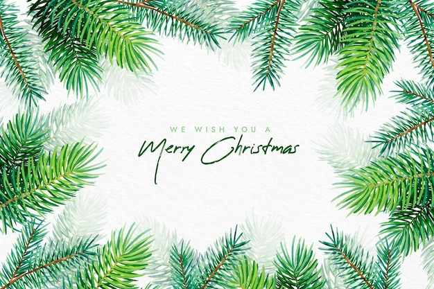 Watercolor christmas tree branches background Premium Vector