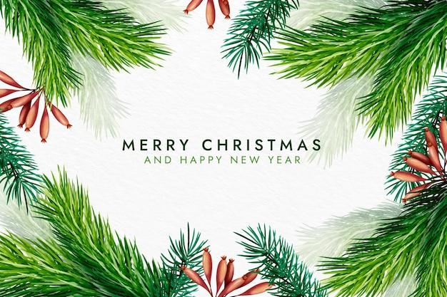 Акварель рождественская елка ветви фон Бесплатные векторы