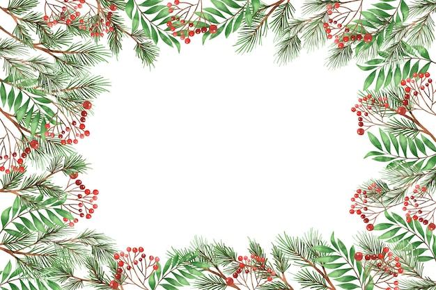水彩のクリスマスツリーの枝の背景 無料ベクター