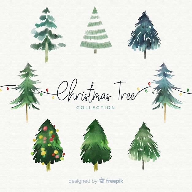 Watercolour Christmas Tree: Watercolor Christmas Tree Collection Vector